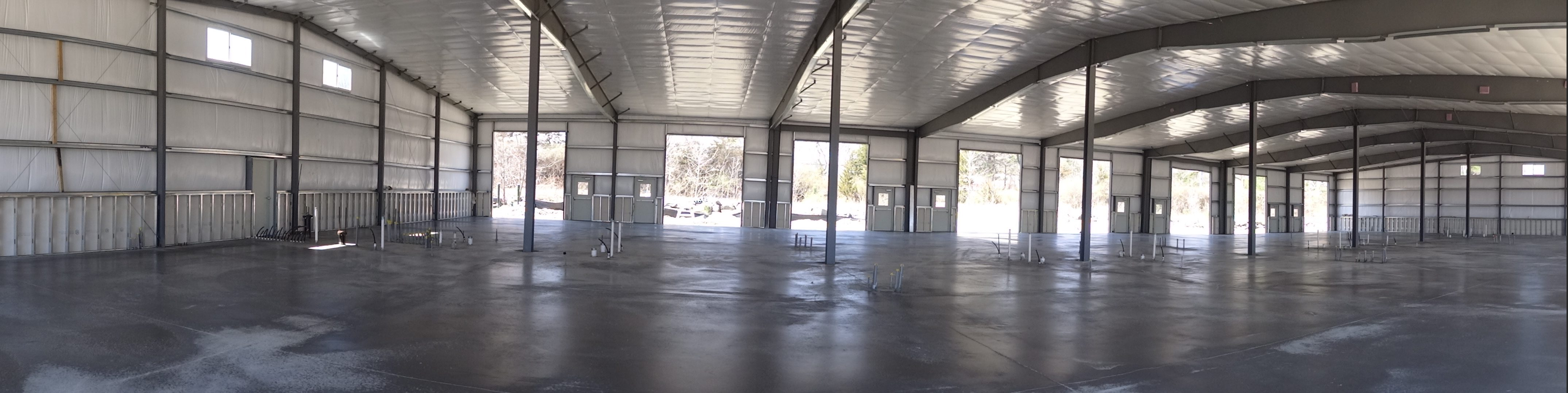 Panoramic interior shot with floor poured.